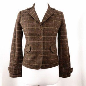 J. Crew Womens Small Brown Wool Plaid Blazer